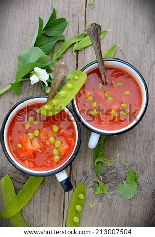 Vegetable soup on the old wooden background - stock photo