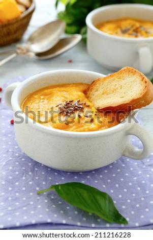 vegetable soup puree, food closeup - stock photo