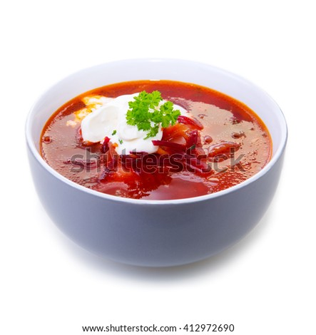 Vegetable soup, red borsch.