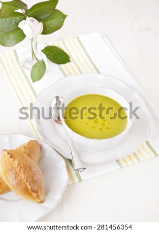 vegetable soup, vegetarian meal,organic food,healthy meal - stock photo