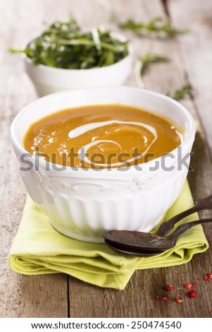 Vegetable soup with carrot and swede - stock photo