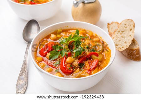 Vegetable Soup with Chickpea and Quinoa - stock photo