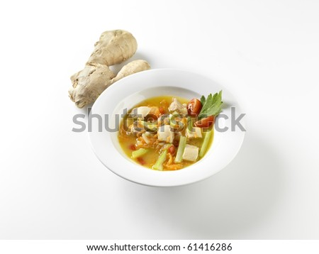 Vegetable soup with ginger.