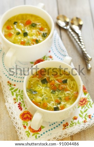 Vegetable soup with noodles - stock photo