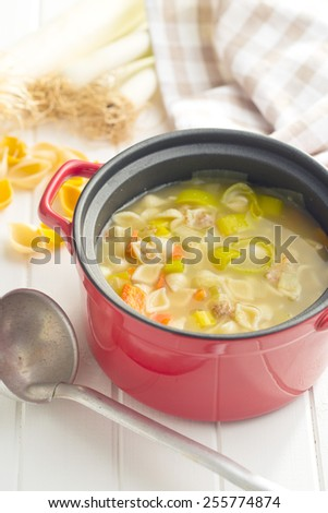 vegetable soup with pasta in pot