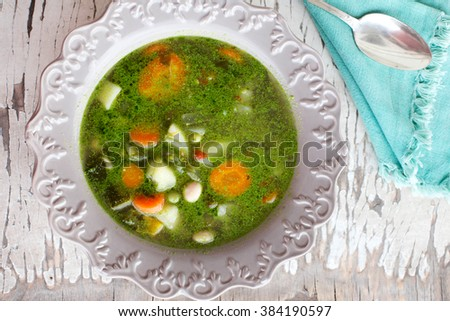 vegetable soup with pesto- typical ligurian vegetable soup