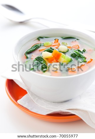 vegetable soup with potato,carrot,celery and spinach