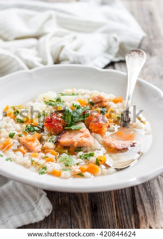 vegetable soup with smoked trout, tomato and barley