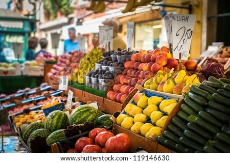Vegetable stand at traditional market in Venice, Italy - stock photo