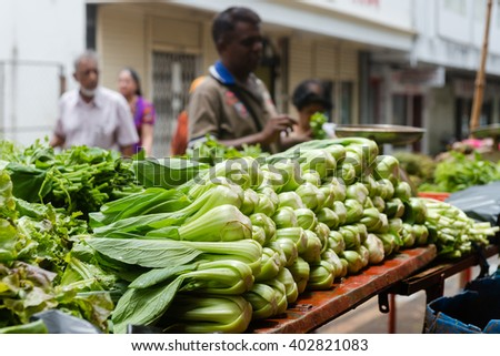 Vegetable stand in Port-Louis streets, capital of Mauritius.