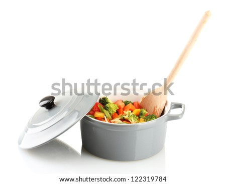 Vegetable stew in gray pot isolated on white