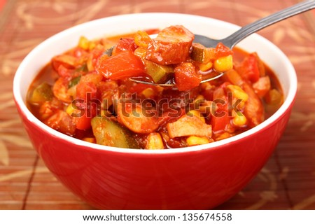 Vegetable Stew (Zucchini, Bell Pepper, Corn, Tomato) with Sausage. Lecho, Lecso, Ratatouille.