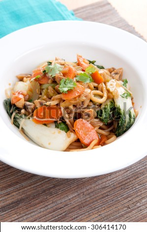 vegetable stir fry with udon noodles and bok choy