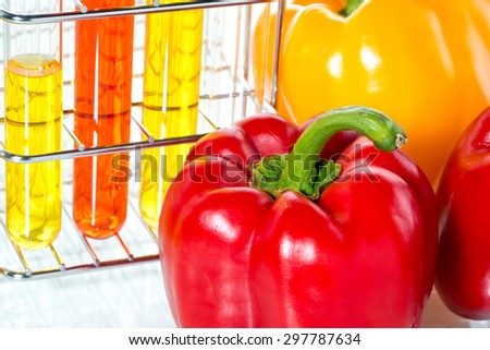 vegetable test, Pepper, Genetic Modification, Scientific Experiment - stock photo