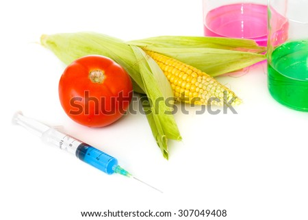 Vegetables and chemicals on the table. Gmo - stock photo