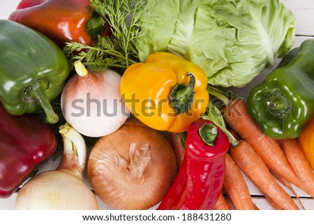 vegetables and fresh vegetables from the garden