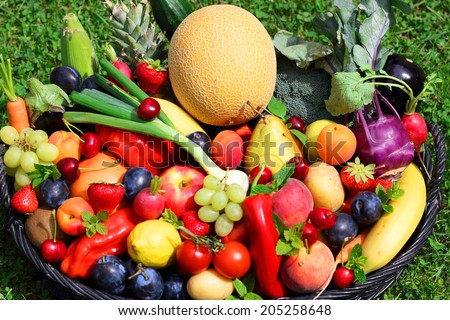 Vegetables and fruits basket on the grass, - stock photo