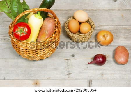 vegetables and fruits in basket