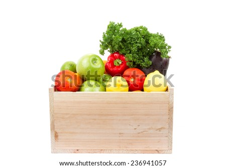 vegetables and fruits in wooden box isolated
