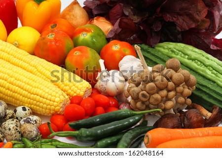 vegetables and fruits, isolated on white