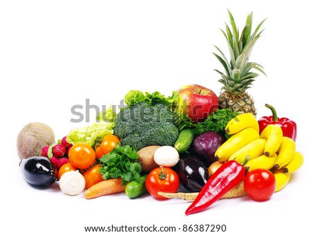 vegetables and fruits on white - stock photo