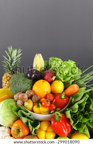 vegetables and fruits with space - stock photo