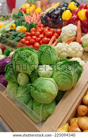 Vegetables and groceries on farm market - stock photo