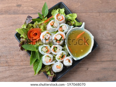 vegetables and in noodle tube - stock photo