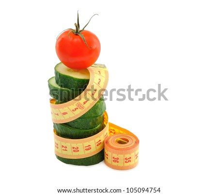 vegetables and measuring tape