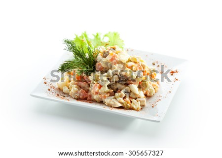 Vegetables and Meat Salad over White