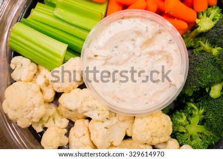 Vegetables and ranch dip for an appetizer at a wedding. - stock photo