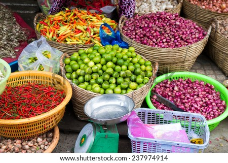 Vegetables and Spices in market - stock photo