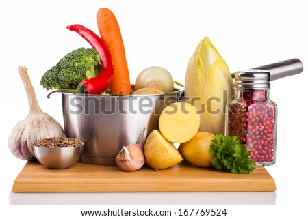 vegetables and steel pot isolated on white