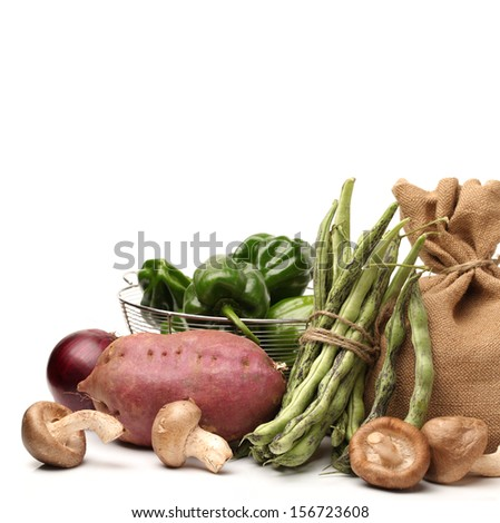 vegetables arranged on white background