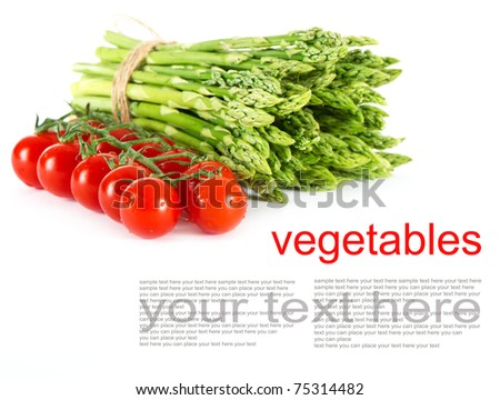 vegetables. asparagus and tomatoes on white background