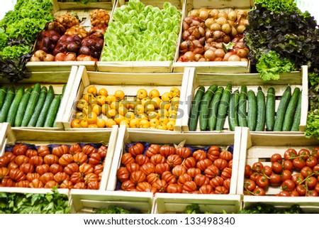Vegetables' assortment / Fresh Vegetables for sale - stock photo