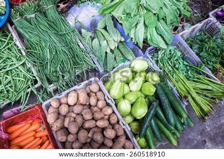 Vegetables at a market stall, Ubud, Bali - stock photo