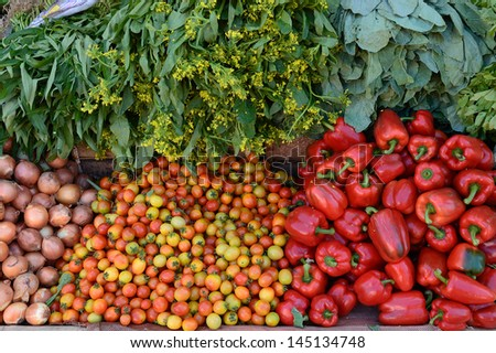 Vegetables at Farmers Market in Pai,Thailand - stock photo