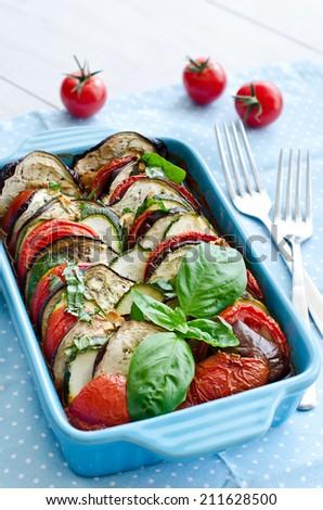 Vegetables baked in oven, vegetarian - stock photo