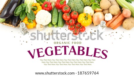 Vegetables close-up with space for text. - stock photo