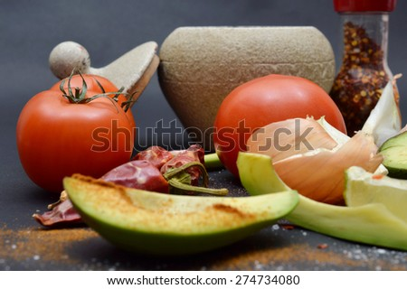 Vegetables closeup on a dark backgroud. - stock photo