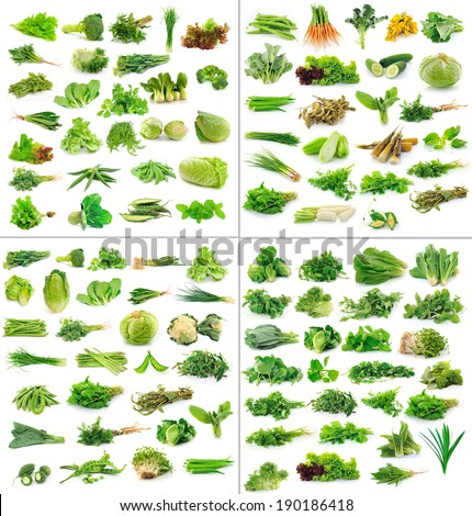 Vegetables collection isolated on white background - stock photo