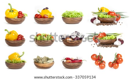 Vegetables collection isolated on white background. fresh vegetables and spices on a white background. set of vegetables. vegetables in the store - stock photo