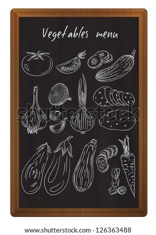 Vegetables drawn in chalk on the blackboard - stock photo