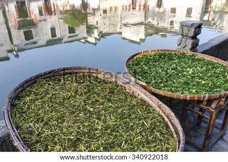 Vegetables drying at Hongcun, Ancient village in south China. - stock photo