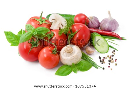 Vegetables for salad with pepper,  tomatoes, basil and cucumber - stock photo