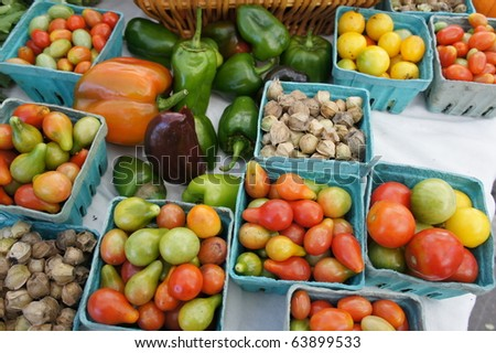 Vegetables For Sale at an Open Market - stock photo