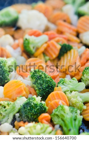 Vegetables fried on coals, close up - stock photo