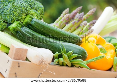 Vegetables in a crate - stock photo