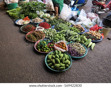 Vegetables in a market in the  Thailand - stock photo